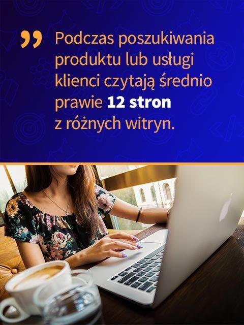 Podczas poszukiwania produktu lub usługi klienci czytają średnio prawie 12 stron z różnych witryn.